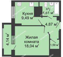 1 комнатная квартира 40,67 м², ЖК Гелиос - планировка