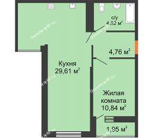 1 комнатная квартира 50,03 м² в ЖК Рекорд, дом 2 этап - планировка