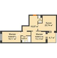 2 комнатная квартира 77,98 м² в ЖК Новоостровский, дом № 2 корпус 1 - планировка