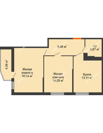 2 комнатная квартира 59,53 м² в ЖК Семейный парк, дом Литер 2