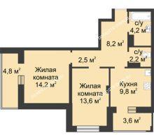 2 комнатная квартира 58,9 м² в ЖК Аквамарин, дом №8 - планировка