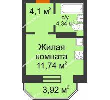 Студия 21,36 м² в ЖК Светлоград, дом Литер 15 - планировка