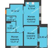 2 комнатная квартира 74,72 м², ЖК Русский Авангард - планировка