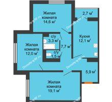 3 комнатная квартира 77,6 м² в ЖК по ул. Космонавтов, 23в , дом Позиция 2 - планировка