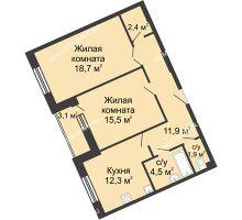 2 комнатная квартира 70,2 м² в ЖК Монолит, дом № 89, корп. 3 - планировка