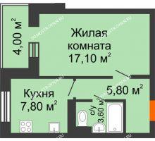 1 комнатная квартира 36,3 м² в ЖК Жюль Верн, дом № 1 корпус 1 - планировка