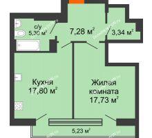 1 комнатная квартира 55,95 м², ЖК Царское село - планировка