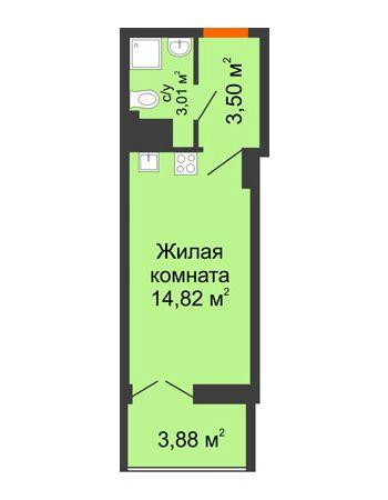 Студия 23,27 м² в ЖК Аврора, дом № 3