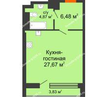 Студия 42,85 м², ЖК Царское село - планировка