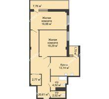 2 комнатная квартира 78,7 м² в  ЖК РИИЖТский Уют, дом Секция 1-2 - планировка