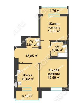 2 комнатная квартира 76,87 м² в ЖК Воскресенская слобода, дом №1