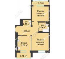 2 комнатная квартира 76,87 м² в ЖК Воскресенская слобода, дом №1 - планировка