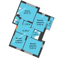 3 комнатная квартира 96,66 м² в ЖК Книги, дом № 1 - планировка