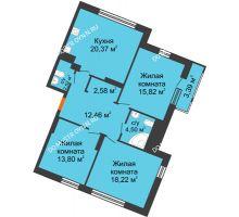 3 комнатная квартира 96,66 м² в ЖК Книги, дом № 2 - планировка
