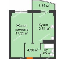 1 комнатная квартира 41,21 м² в ЖК Нива, дом №37 - планировка