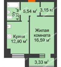 1 комнатная квартира 44,18 м² в ЖК Парк Горького, дом 62/18, № 6 - планировка