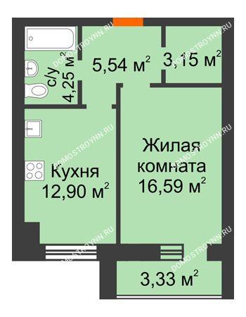 1 комнатная квартира 44,18 м² в ЖК Парк Горького, дом 62/18, № 6