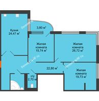 Студия 121,3 м², Жилой дом на ул. Платонова, 9,11 - планировка