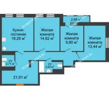 3 комнатная квартира 86,36 м², ЖК Каскад на Менделеева - планировка