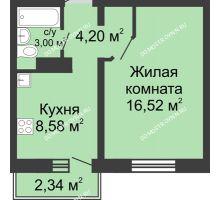 1 комнатная квартира 33 м² в ЖК Корабли, дом № 6 - планировка