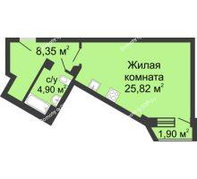 Студия 40,97 м², ЖК Юбилейный - планировка