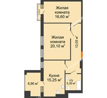 2 комнатная квартира 76,35 м² в ЖК Симфония, дом 3 этап - планировка