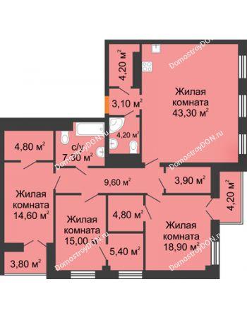 4 комнатная квартира 143,2 м² - ЖК Дом на 18-й Линии, 3