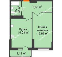 1 комнатная квартира 43,07 м², ЖК Орбита - планировка