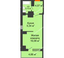 Студия 33,28 м² в ЖК Северный Остров, дом № 6 - планировка