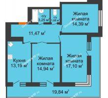 3 комнатная квартира 85,9 м², ЖК Время - планировка