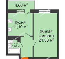1 комнатная квартира 43,3 м² в ЖК Я, дом  Литер 2 - планировка