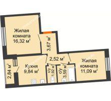2 комнатная квартира 50,37 м² в ЖК АВИА, дом № 2 - планировка