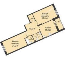 2 комнатная квартира 79,5 м² в ЖК Монолит, дом № 89, корп. 3 - планировка