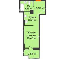 Студия 25,84 м² в ЖК Город у реки, дом Литер 7 - планировка