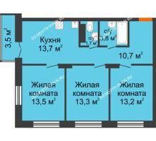 3 комнатная квартира 70,95 м² в ЖК Заречье, дом № 1, секция 1 - планировка