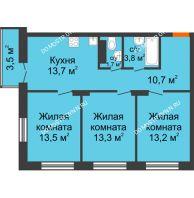 3 комнатная квартира 70,95 м² в ЖК Заречье, дом №1, секция 2 - планировка
