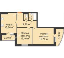 2 комнатная квартира 69,2 м² в ЖК Вересаево, дом Литер 9/2 - планировка