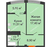 1 комнатная квартира 47,11 м² в ЖК Малахит, дом № 1 - планировка