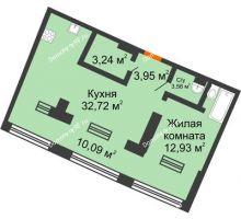 1 комнатная квартира 46,37 м² в ЖК Речной порт, дом № 6 - планировка