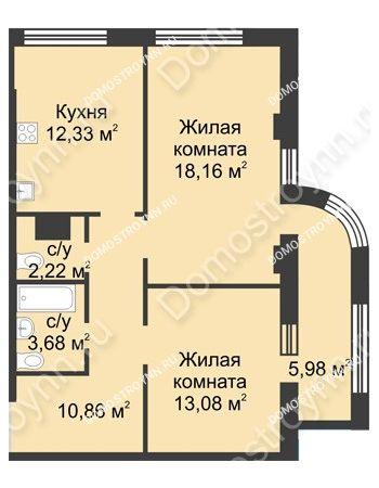 2 комнатная квартира 63,32 м² в ЖК Караваиха, дом № 5