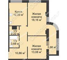 2 комнатная квартира 63,32 м² в ЖК Караваиха, дом № 5 - планировка