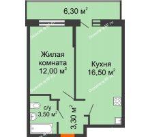 1 комнатная квартира 37,2 м² в ЖК Победный, дом Литер 3 - планировка
