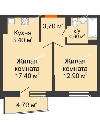2 комнатная квартира 44,9 м² в ЖК Династия, дом Литер 2
