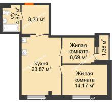 2 комнатная квартира 61,19 м² в ЖК Дом с террасами, дом № 6 - планировка