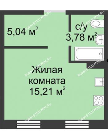 Студия 24,19 м² в ЖК Тридесятое, дом № 19