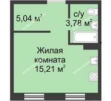 Студия 24,19 м² в ЖК Тридесятое, дом № 19 - планировка