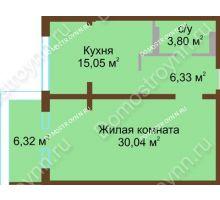 1 комнатная квартира 58,5 м² в ЖК Дом с террасами, дом № 1