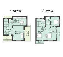 4 комнатная квартира 175,5 м² в КП DolinaGreen (Долина Грин), дом Типа дуплекс (175,5 м2) - планировка