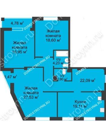 3 комнатная квартира 116,53 м² в ЖК Воскресенская слобода, дом №1