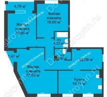 3 комнатная квартира 116,53 м² в ЖК Воскресенская слобода, дом №1 - планировка